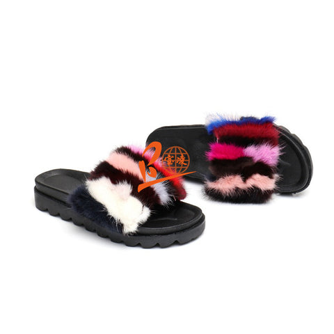 BLMC Colorful Mink Fur Slides