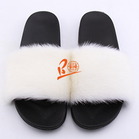 BLM White or Customized Color Black Sole Mink Fur Slippers