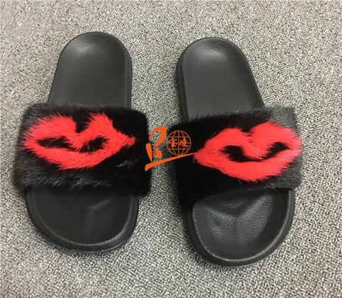 BLMRB Red Black Mink Fur Slides