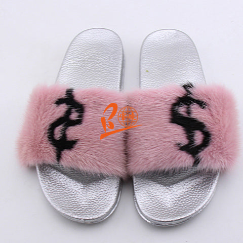 BLMBP Black Pink DOLLAR Mink Fur Slides
