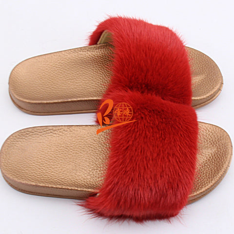 BLMR Red Mink Fur Slides