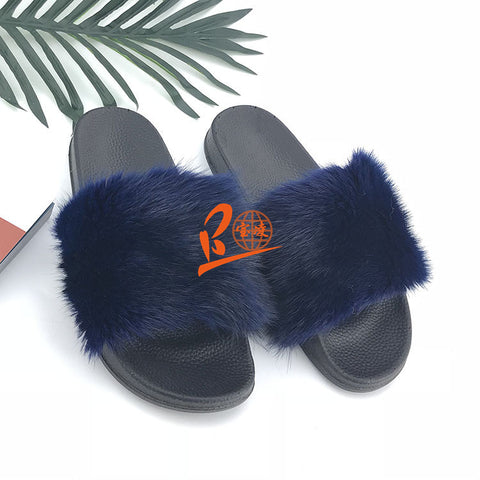 BLMDB Dark Blue Mink Fur Slippers