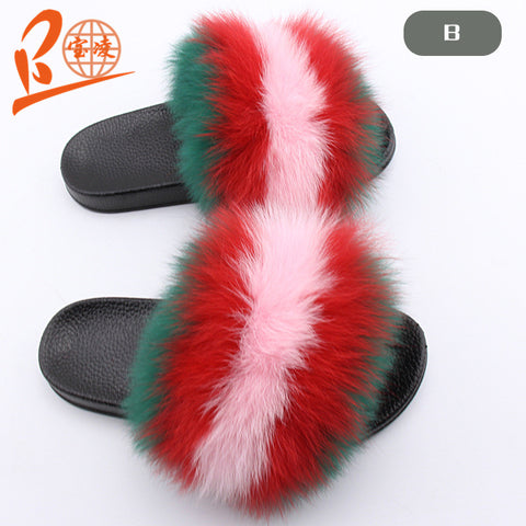 BLFGRP Green Red Pink Fox Fur Slippers