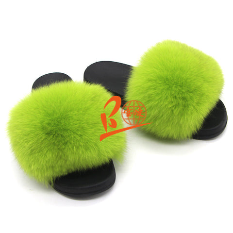 BLFSLG Lime Green Fox Fur Slippers