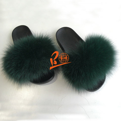 BLFSCDG Dark Green Fox Fur Slippers