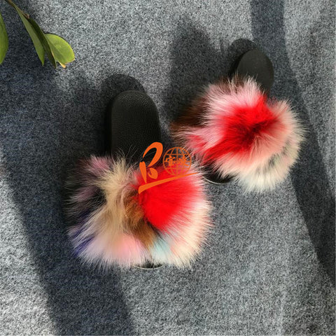 BLFAC Assorted Colors Fox Fur Slippers