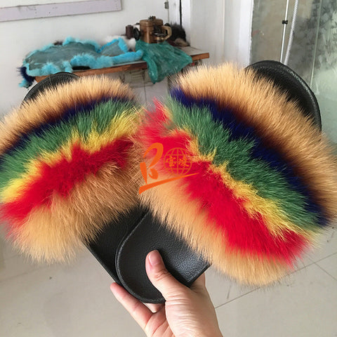 BLFDC Solid Different Color Fox Fur Slippers