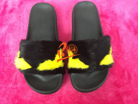 BLM01 Black Monster Yellow Eyes Black Sole Mink Fur Slippers