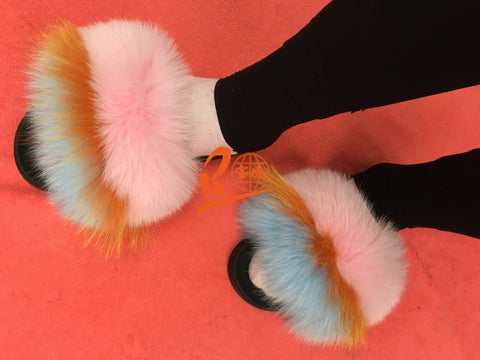 BLFRLBP Light Blue Pink Fox Raccoon Fur Slippers