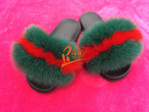 BLFBR BLUE THIN RED Fox Fur Slippers