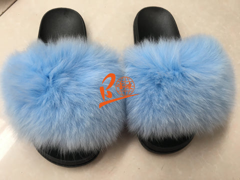 BLFSCLB light Blue Fox Fur Slippers