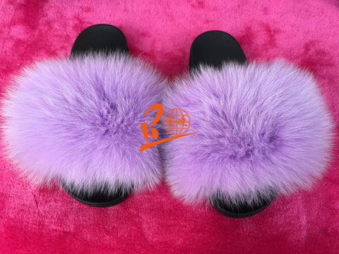 BLSCF03 Light Purple Fox Fur Slippers