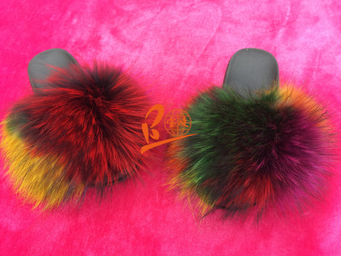 Colorful Rain Bow Black Sole Raccoon Fur Slippers
