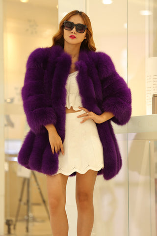 BLRFC03 High Quality Winter Real Fox Fur Longer Woman Coats