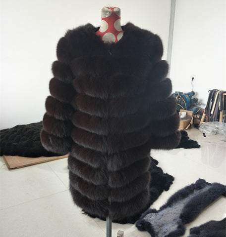 BLRFC05 Black More Colors Winter Real Fox Fur Woman Coats
