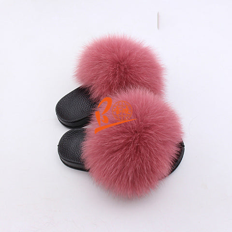BLK10 Fresh Pink or Customized Color Black Sole Kids Fox Fur Slippers