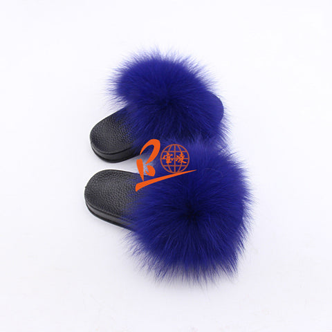 BLK11 Royal or Customized Color Black Sole Kids Fox Fur Slippers