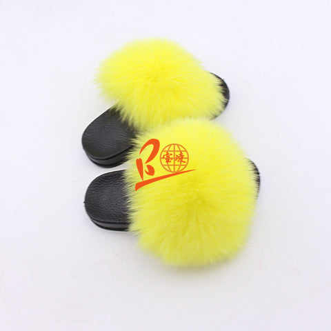 BLK17 Yellow or Customized Color Black Sole Kids Fox Fur Slippers