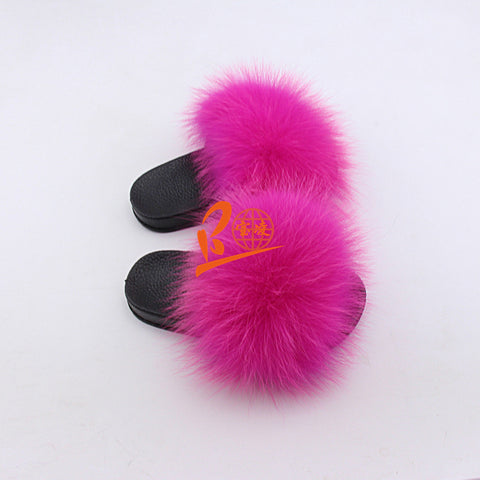 BLK02 Fusica Hot Pink or Customized Color Black Sole Kids Fox Fur Slippers