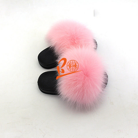 BLK05 Bady Pink or Customized Color Black Sole Kids Fox Fur Slippers
