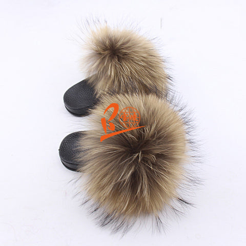 BLK18 Natural Raccoon or Customized Color Black Sole Kids Fox Fur Slippers