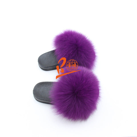 BLK06 Dark Purple or Customized Color Black Sole Kids Fox Fur Slippers