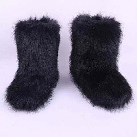 BLFFBPY Hot Sale Black Boot Faux Fur Boots