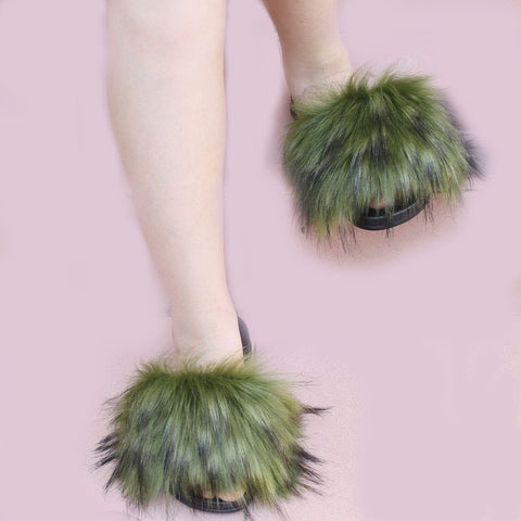BLTFAUX03 Green Faux Fur Slides Slippers