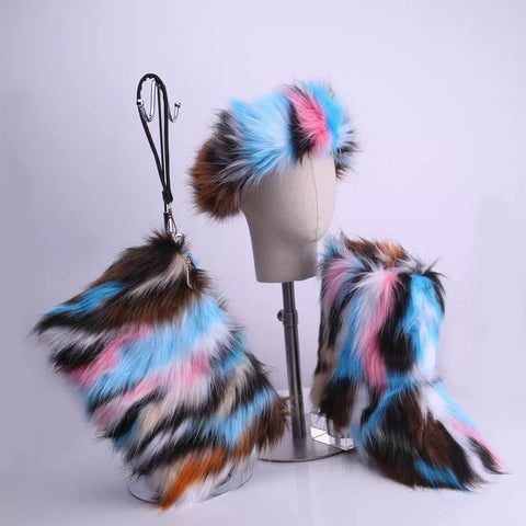 BLFT05 Hot Sale Faux Fur Boots Headband Bags