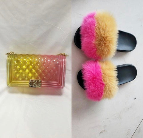 BLSB14 One set Fur Slides Slippers Purse Handbags