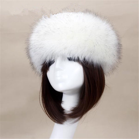 BLFFHBW Hot Sale Best Quality White Black Tip Faux Fur Headband