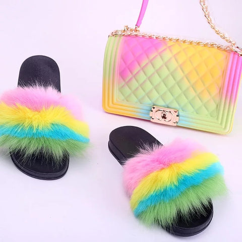 BLSB08 Faux Fur Slides Slippers with handbag Purse One Set