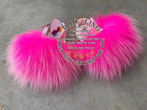 BLBBHP Super Cute Baby Hot Pink Fox Fur Slides Slippers
