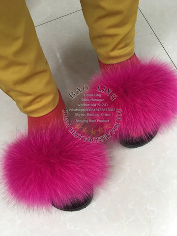 BLFHP Hot Pink Fox Fur Slippers Slides