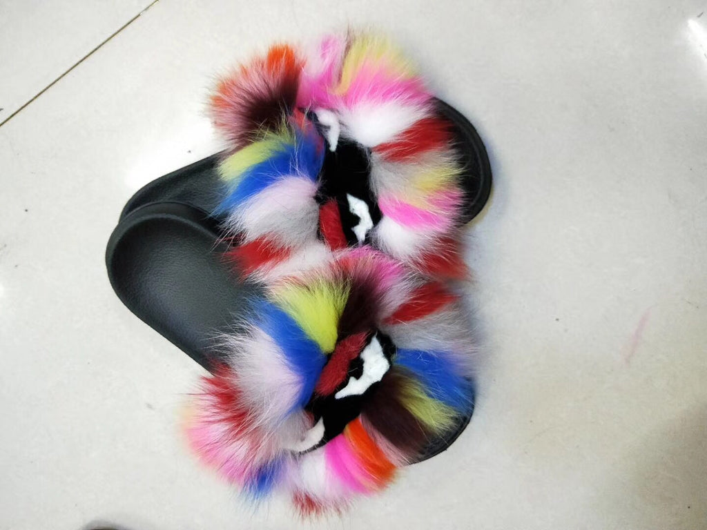 blfm07 colorful rainbow monster fur slides baolingshop