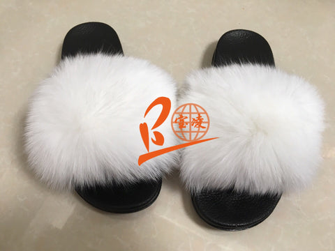 BLFSCW White Fox Fur Slippers