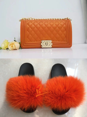 BLSB34 One set Orange Fur Slides Slippers Purse Handbags
