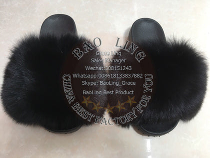 BLFBB Biggest Black Fox Fur Slides