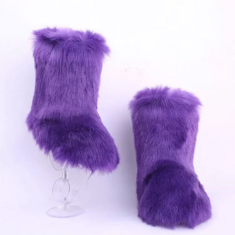BLFFBP Hot Sale Purple Boot Faux Fur Boots