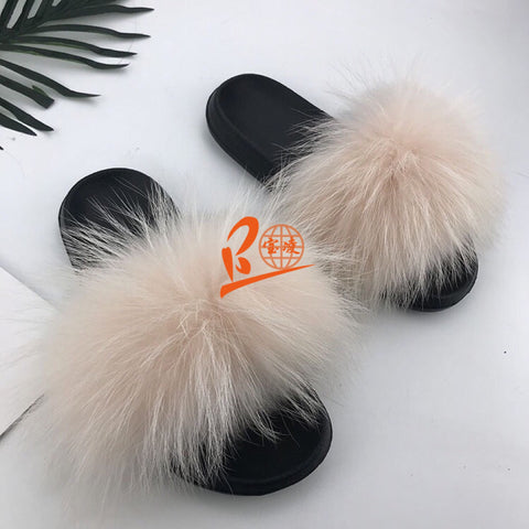 BLRRP Rubber Pink Raccoon Fur Slippers