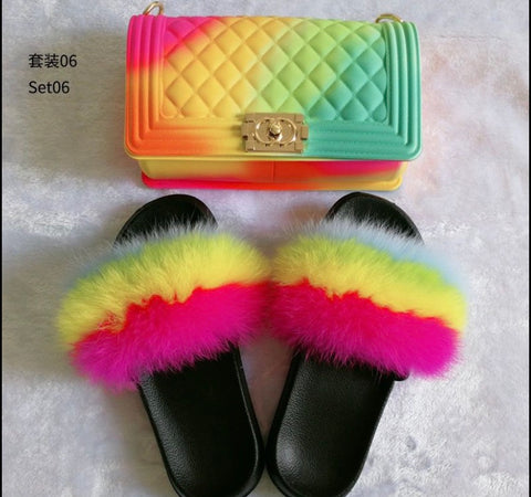 BLSB24 Fox Fur Slides Slippers with handbag Purse One Set