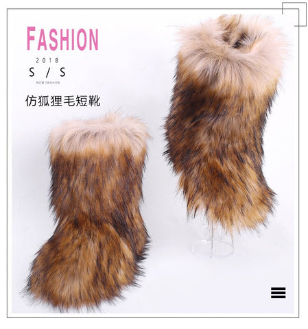 BLFFBNR Hot Sale Natural Raccoon Boot Faux Fur Boots