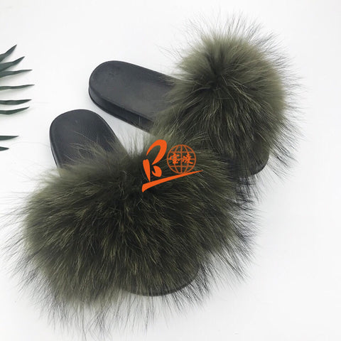 BLRAG Army Green Raccoon Fur Slippers
