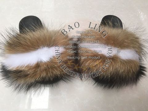 BLRB Biggest White Natural Raccoon Fox Raccoon Fur Slippers