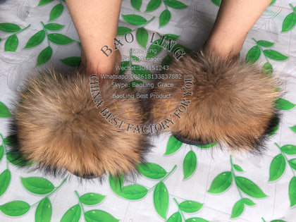 BLRBN Big Natural Raccoon Fur Slippers