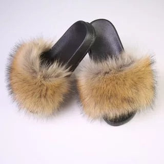 BLTFAUX08 Faux Brown Raccoon Fur Slides Slippers