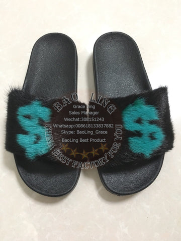 BLMBG Black Green Mink Fur Slippers