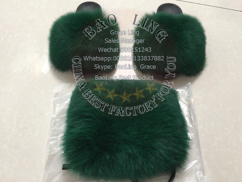 BLFSDG One Set Deep Green Biggest Fox Fur Slides and Fanny Packs