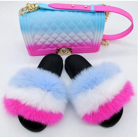 BLSB12 One set Fur Slides Slippers Purse Handbags