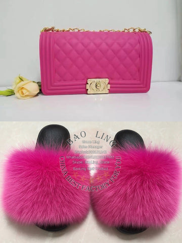 BLSB33 One set Fur Slides Slippers Purse Handbags
